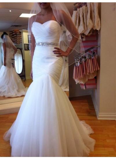 Trompeten-/Meerjungfrauenkleider Herzausschnitt Bodenlang Ärmellos Tüll Hochzeitskleid mit Perlenstickereien
