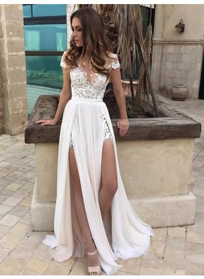 A-Linien-/Princess-Stil V-Ausschnitt Bodenlang Ärmellos Chiffon Spitze Brautkleid mit Schlitz