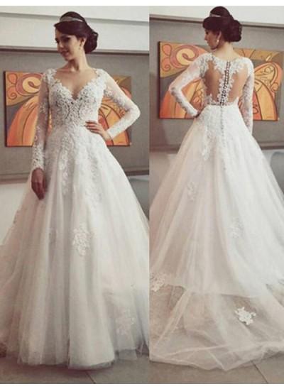 Duchesse-Stil V-Ausschnitt Hofschleppe Lange Ärmel Tüll Brautkleid mit Spitze