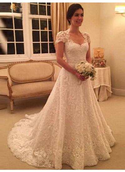 A-Linien-/Princess-Stil Herzausschnitt Hofschleppe Kurze Ärmel Brautkleid mit Spitze