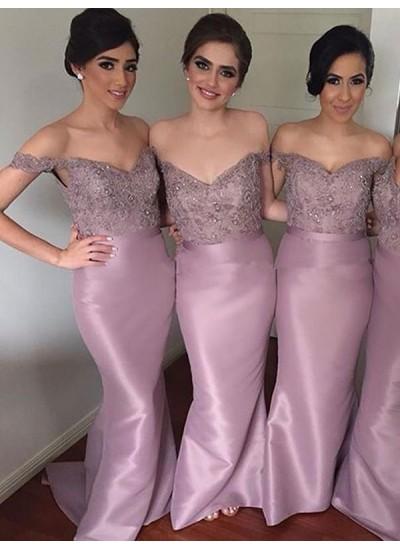 Trompeten-/Meerjungfrauenkleider Schulterfrei Satin Pinselschleppe Ärmellos Brautjungfernkleid mit Perlenstickereien