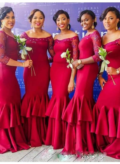 Trompeten-/Meerjungfrauenkleider Schulterfrei Satin Bodenlang Dreiviertelärmel Brautjungfernkleid mit Rüschen