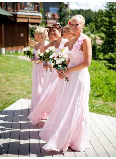 A-Linien-/Princess-Stil One-Shoulder-Träger Chiffon Bodenlang Ärmellos Brautjungfernkleid