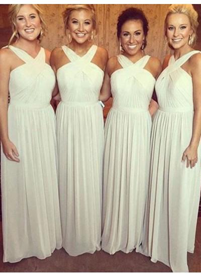 A-Linien-/Princess-Stil Neckholder Chiffon Bodenlang Ärmellos Brautjungfernkleid