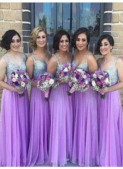 A-Linien-/Princess-Stil Herzausschnitt Chiffon Bodenlang Ärmellos Brautjungfernkleid mit Ziermünzen