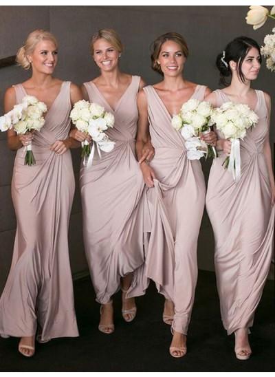 A-Linien-/Princess-Stil V-Ausschnitt Chiffon Bodenlang Ärmellos Brautjungfernkleid