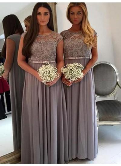 A-Linien-/Princess-Stil U-Ausschnitt Chiffon Bodenlang Ärmellos Brautjungfernkleid mit Applikationen