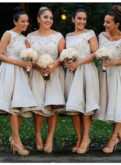 A-Linien-/Princess-Stil Schulterfrei Stretch-Satin Knielang Ärmellos Brautjungfernkleid