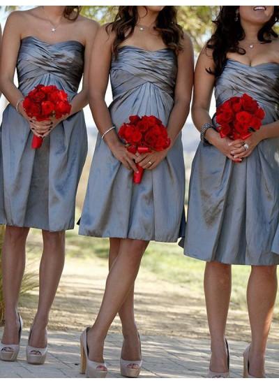 Etui-Linie Herzausschnitt Satin Kurze Ärmellos Brautjungfernkleid
