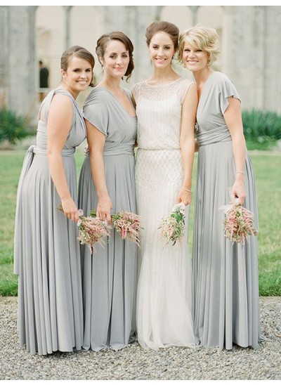 A-Linien-/Princess-Stil Chiffon Bodenlang Ärmellos Brautjungfernkleid