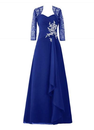 A-Linien-/Princess-Stil Herzausschnitt Dreiviertelärmel Chiffon Bodenlang Brautmutterkleid mit Perlenstickereien Spitze
