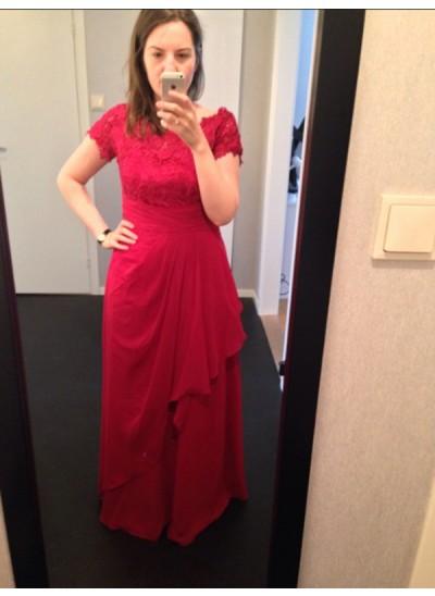 A-Linien-/Princess-Stil U-Ausschnitt Kurze Ärmel Bodenlang Chiffon Brautmutterkleid mit Spitze