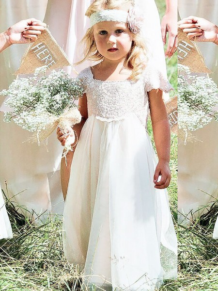 A-Linien-/Princess-Stil Rechteckiger Ausschnitt Kurze Ärmel Bodenlang Chiffon Blumenmädchenkleid mit Spitze