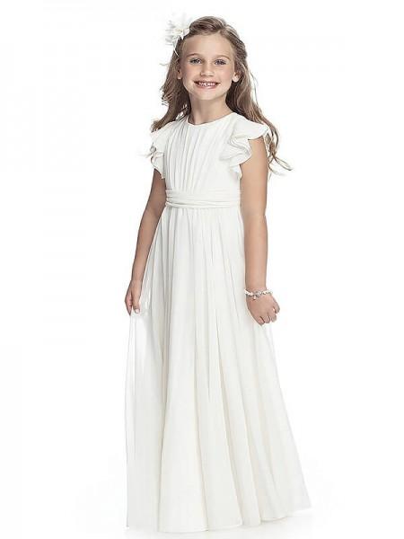 A-Linien-/Princess-Stil U-Ausschnitt Ärmellos Chiffon Bodenlang Blumenmädchenkleid