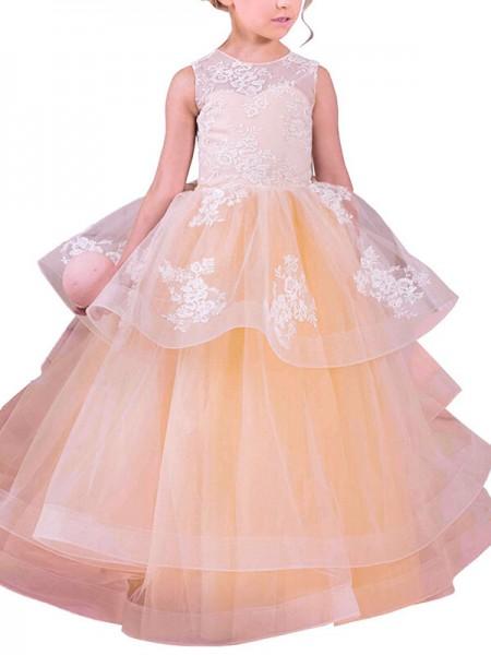 Duchesse-Stil Juwel-Ausschnitt Ärmellos Bodenlang Tüll Blumenmädchenkleid mit Spitze