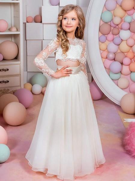 A-Linien-/Princess-Stil Lange Ärmel Juwel-Ausschnitt Chiffon Bodenlang Blumenmädchenkleid mit Spitze