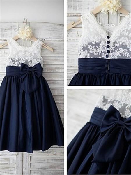 A-Linien-/Princess-Stil Träger Bodenlang Chiffon Blumenmädchenkleid mit Schleifen