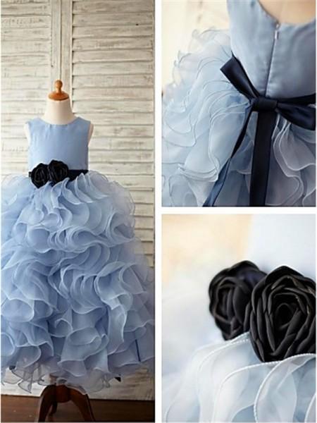 Duchesse-Stil U-Ausschnitt Bodenlang Organza Blumenmädchenkleid mit Rüschen