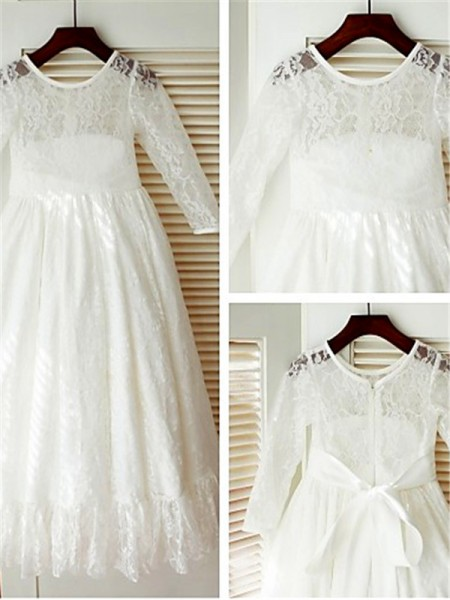 A-Linien-/Princess-Stil U-Ausschnitt Lange Ärmel Bodenlang Spitze Blumenmädchenkleid mit Ziermünzen Schleifen