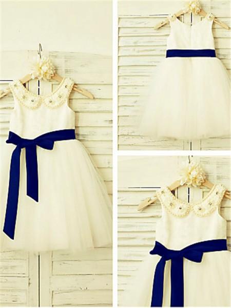 A-Linien-/Princess-Stil U-Ausschnitt Wadenlang Tüll Blumenmädchenkleid mit Rüschen Perlenstickereien