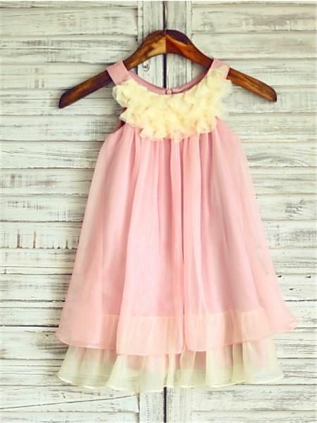 A-Linien-/Princess-Stil Träger Wadenlang Chiffon Blumenmädchenkleid mit Perlenstickereien Rüschen