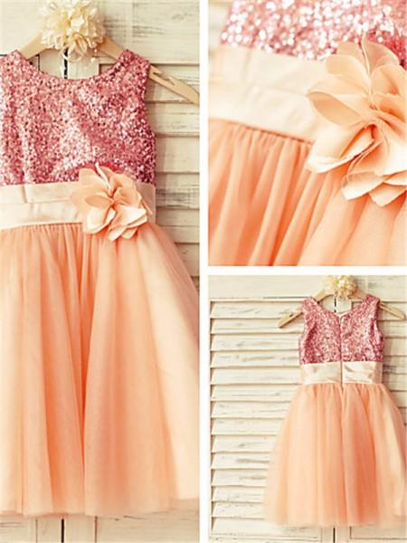 A-Linien-/Princess-Stil U-Ausschnitt Wadenlang Tüll Blumenmädchenkleid mit Perlenstickereien Ziermünzen