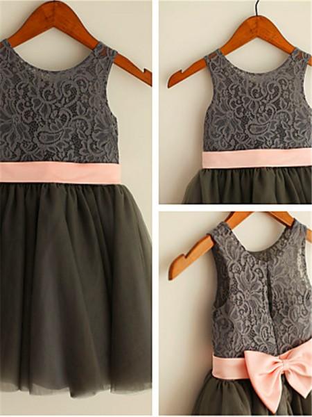 A-Linien-/Princess-Stil U-Ausschnitt Wadenlang Tüll Blumenmädchenkleid mit Perlenstickereien Schleifen