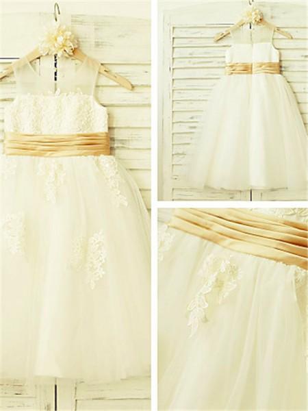 A-Linien-/Princess-Stil U-Ausschnitt Spitze Wadenlang Tüll Blumenmädchenkleid mit Strasssteine