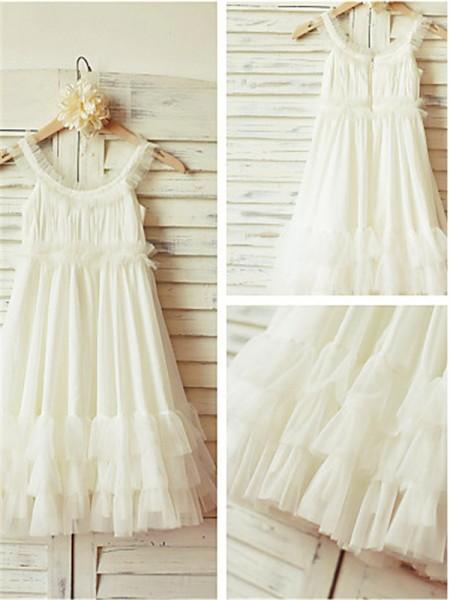 A-Linien-/Princess-Stil Träger Bodenlang Chiffon Blumenmädchenkleid mit Perlenstickereien Rüschen