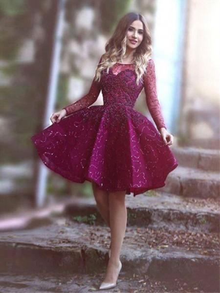 A-Linien-/Princess-Stil U-Ausschnitt Satin Lange Ärmel Kurze Abiballkleid mit Paillette