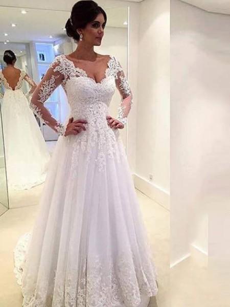 Duchesse-Stil V-Ausschnitt Lange Ärmel Tüll Hofschleppe Hochzeitskleid mit Spitze