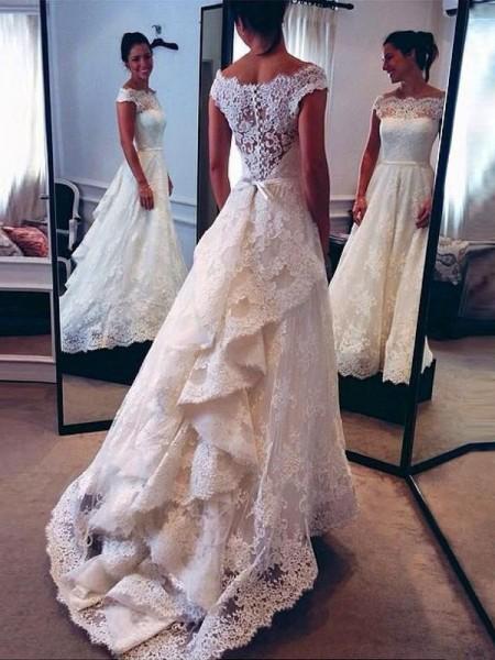 A-Linien-/Princess-Stil U-Ausschnitt Hofschleppe Ärmellos Spitze Hochzeitskleid