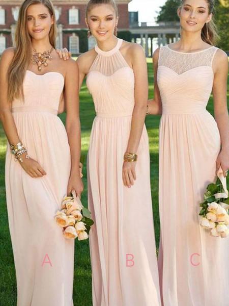 A-Linien-/Princess-Stil Chiffon Bodenlang Ärmellos Brautjungfernkleid mit Rüschen