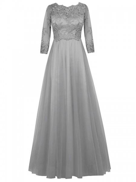 A-Linien-/Princess-Stil U-Ausschnitt Lange Ärmel Tüll Bodenlang Brautmutterkleid mit Spitze
