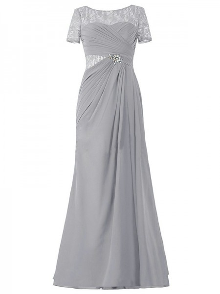 A-Linien-/Princess-Stil U-Ausschnitt Kurze Ärmel Chiffon Bodenlang Brautmutterkleid mit Illusion